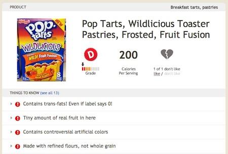 Pop Tarts Wildlicious gets a D on Fooducate