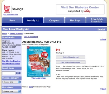 Walgreens – Coupon for Sugary Meal adjacent to Diabetes Center Link