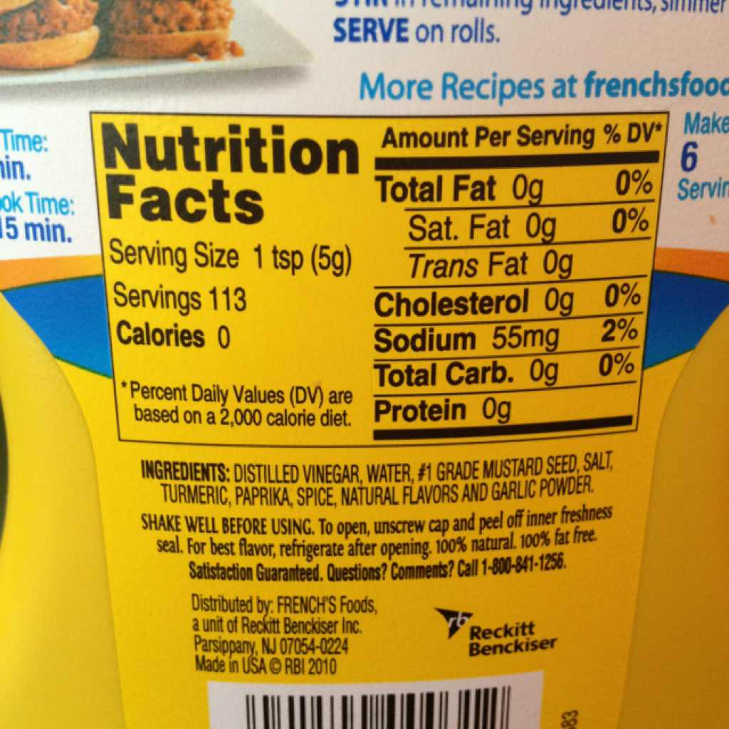 French's Classic Yellow Mustard: Calories, Nutrition