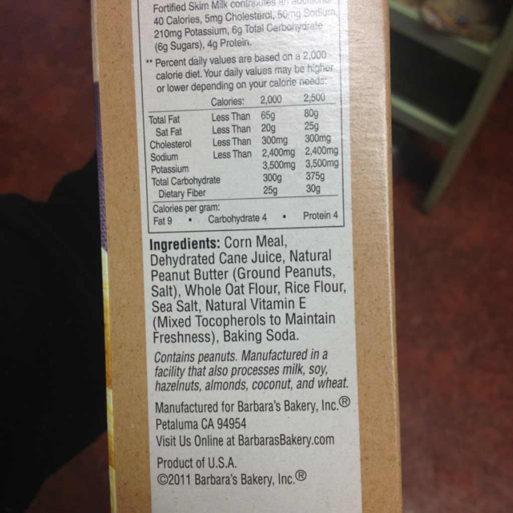 BARBARA'S Puffins Cereal, Peanut Butter: Calories