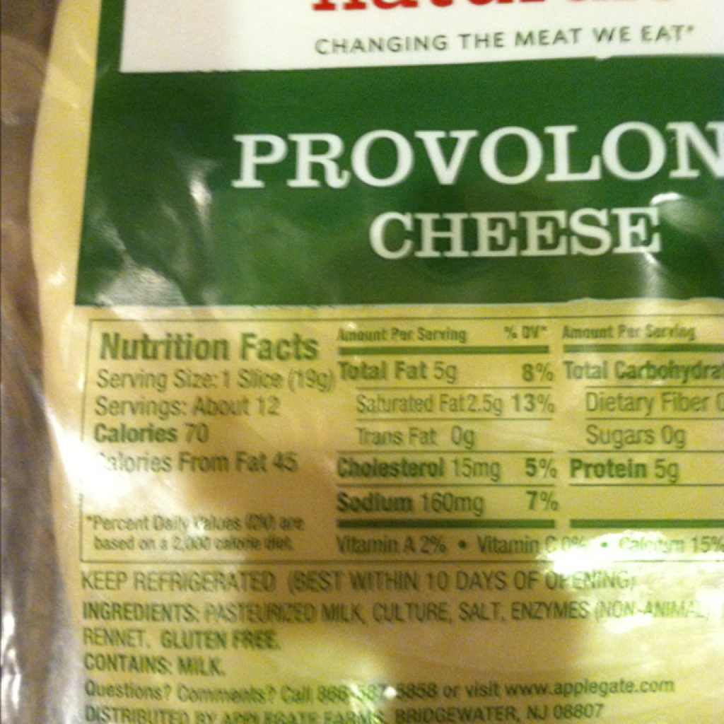 Applegate Cheese Provolone Calories Nutrition Analysis
