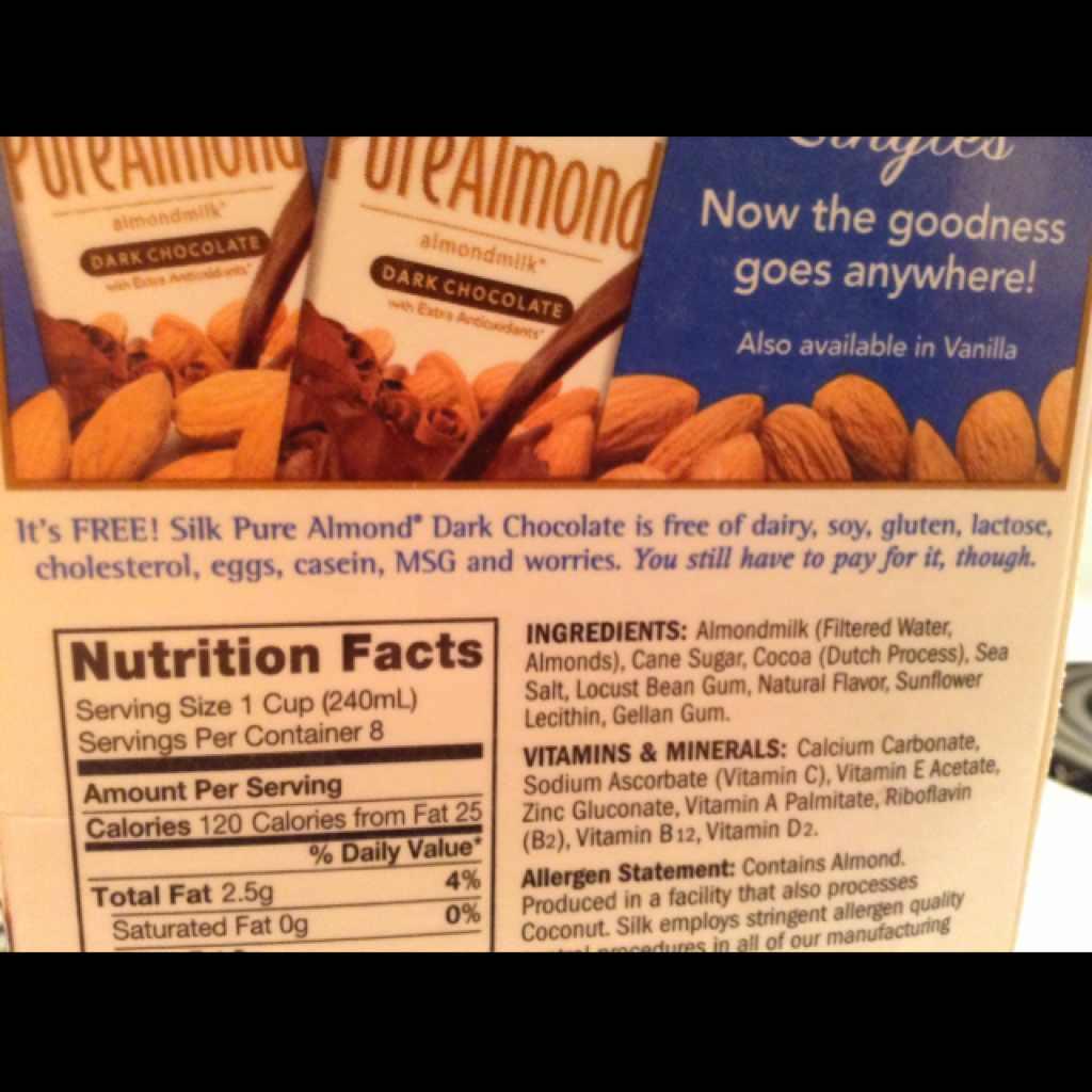 Silk Almond Milk, Dark Chocolate: Calories, Nutrition Analysis ...