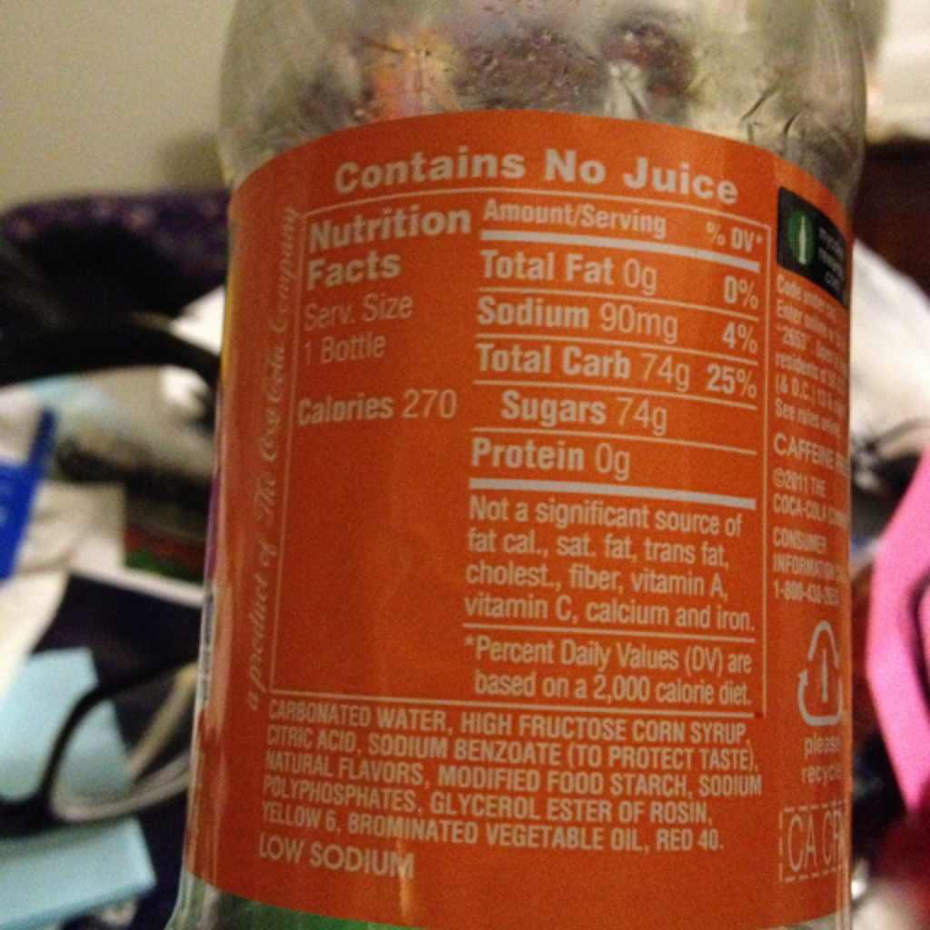 Fanta Soda, Orange: Calories, Nutrition