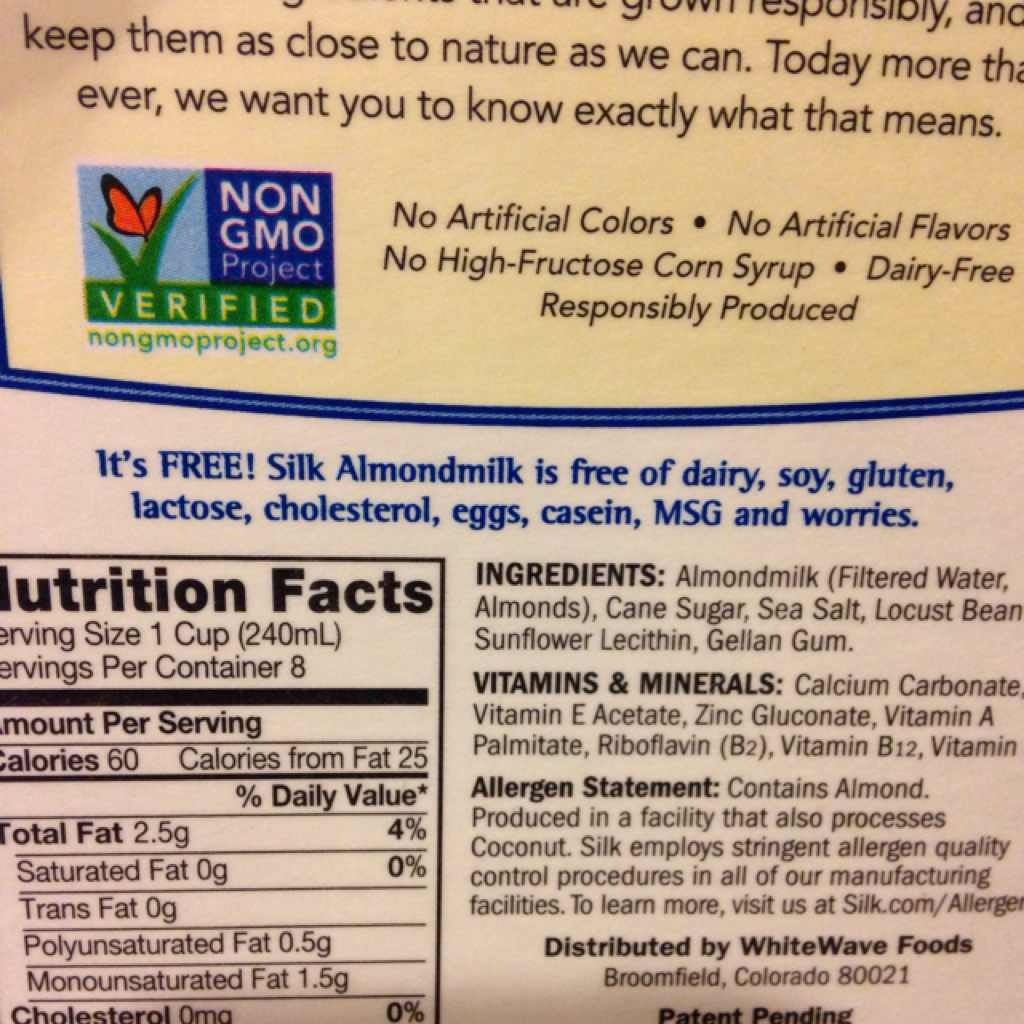 silk almondmilk original calories nutrition analysis