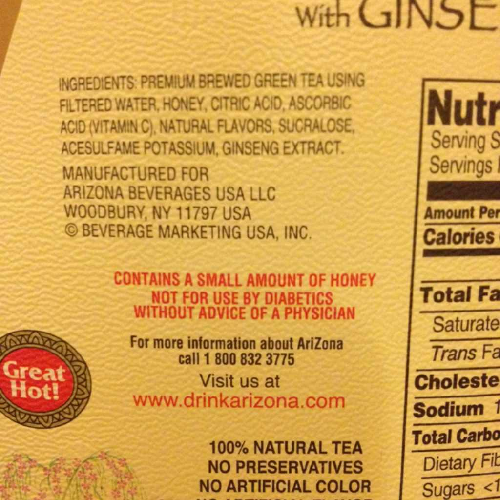 Arizona Green Tea, Diet, With Ginseng: Calories, Nutrition