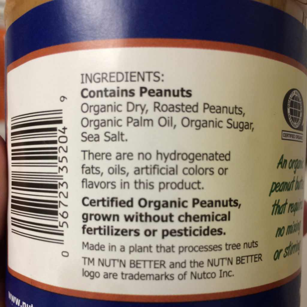 Nut N Better Organic Peanut Butter Calories Nutrition
