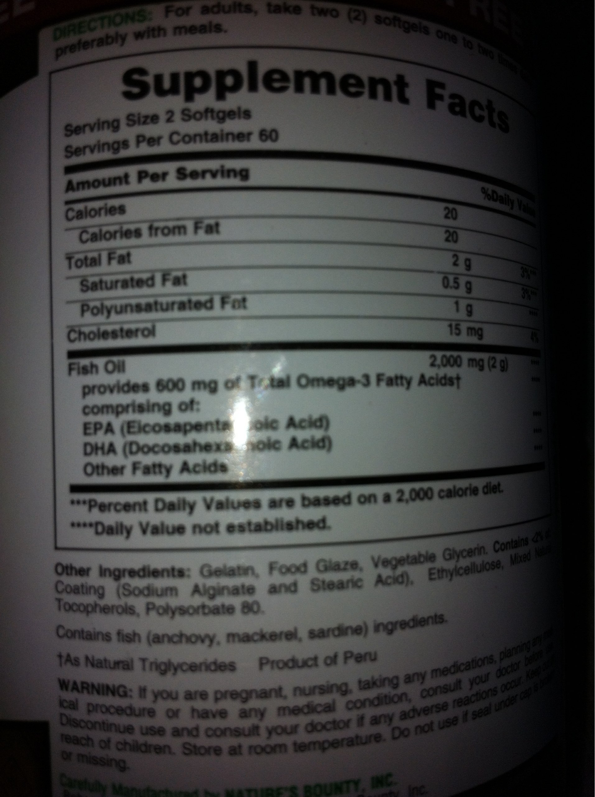 Nature 39 s bounty odorless fish oil calories nutrition for Fish oil nutrition facts