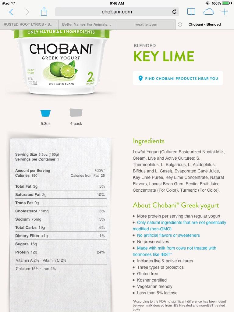 chobani greek yogurt, blended, key lime: calories, nutrition