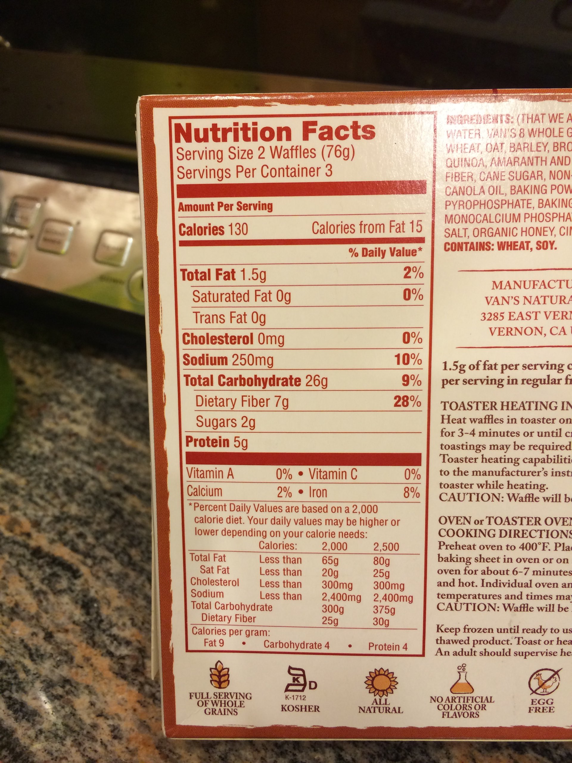 vans frozen waffles nutrition