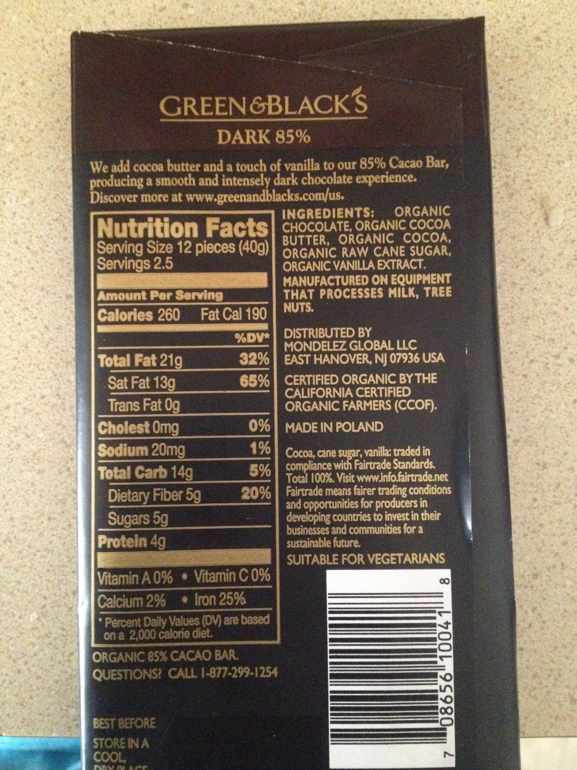 Green & Black's Dark Chocolate, 85%: Calories, Nutrition Analysis ...