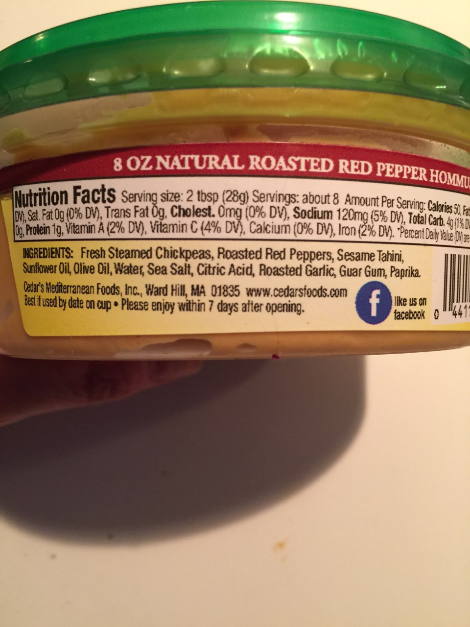 Cedars hommus roasted red pepper calories nutrition analysis just checked the label this product no longer contains sodium benzoate and potassium sorbate sisterspd