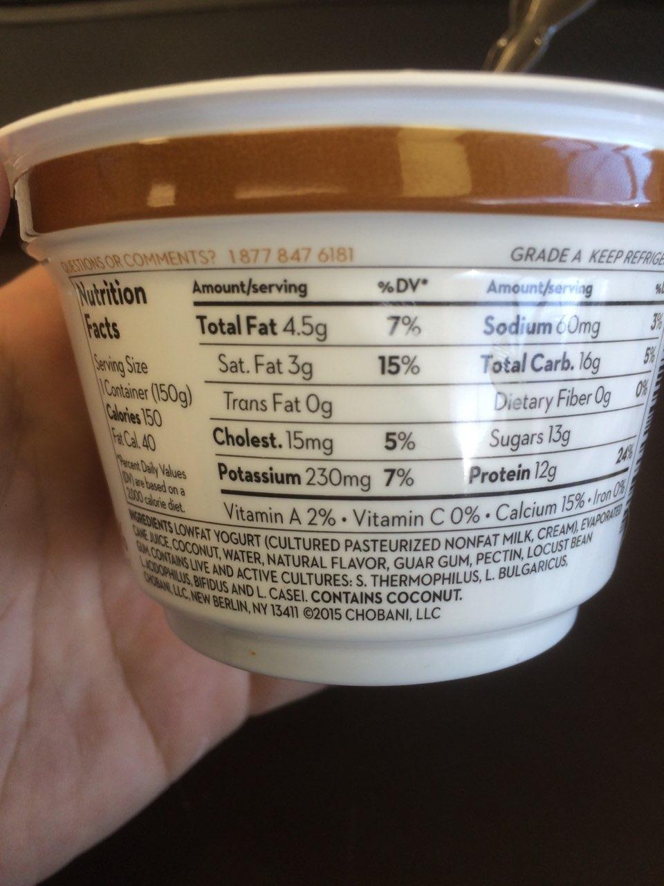 Chobani Greek Yogurt, Blended, Coconut