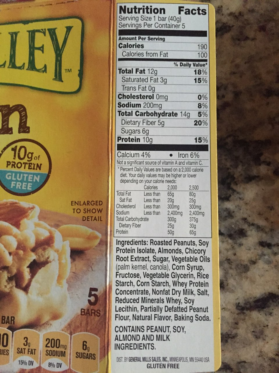 Nature Valley Chewy Chocolate Chunk Nutrition