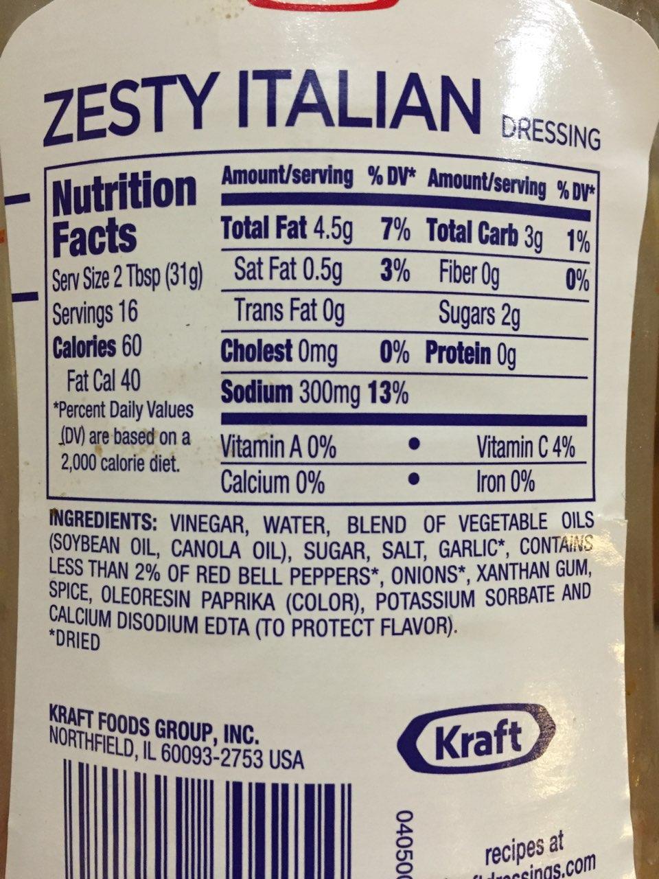 Kraft Dressing, Zesty Italian: Calories