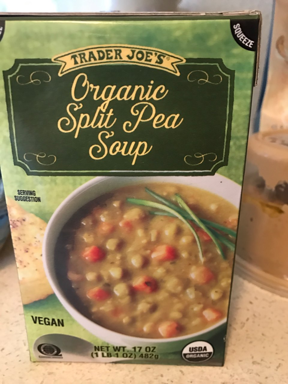 Premise Indicator Words: Trader Joe's Organic Split Pea Soup: Calories, Nutrition