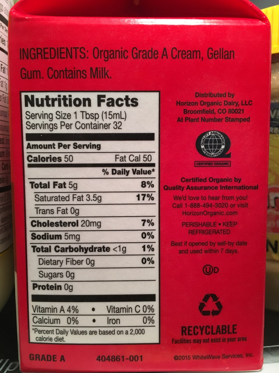 Horizon Heavy Whipping Cream: Calories
