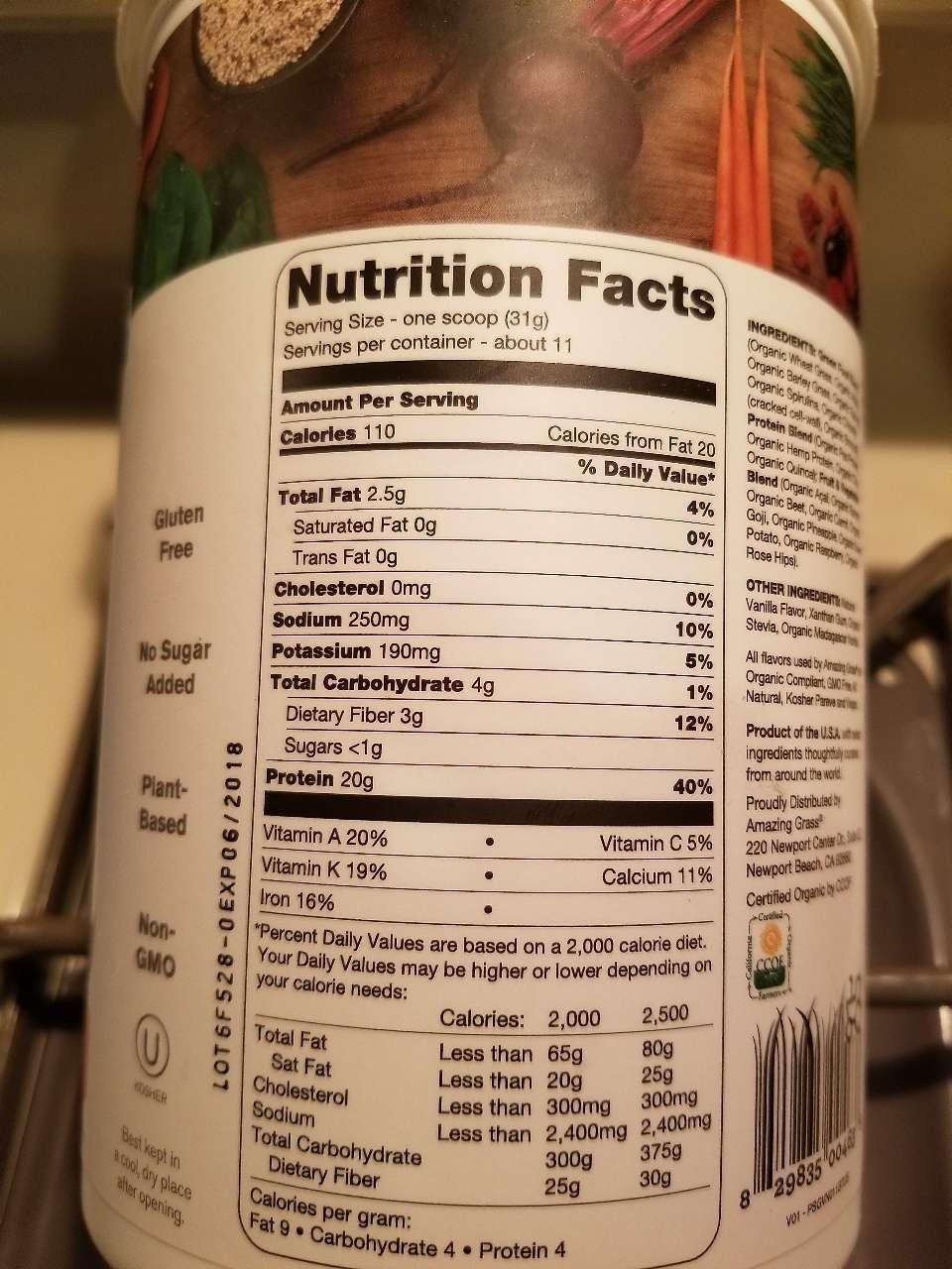 Amazing Grass Protein Superfood Pure Vanilla Calories