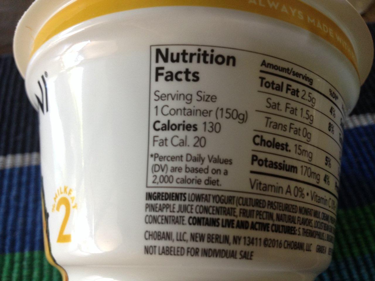 Chobani Greek Yogurt, Pineapple on the
