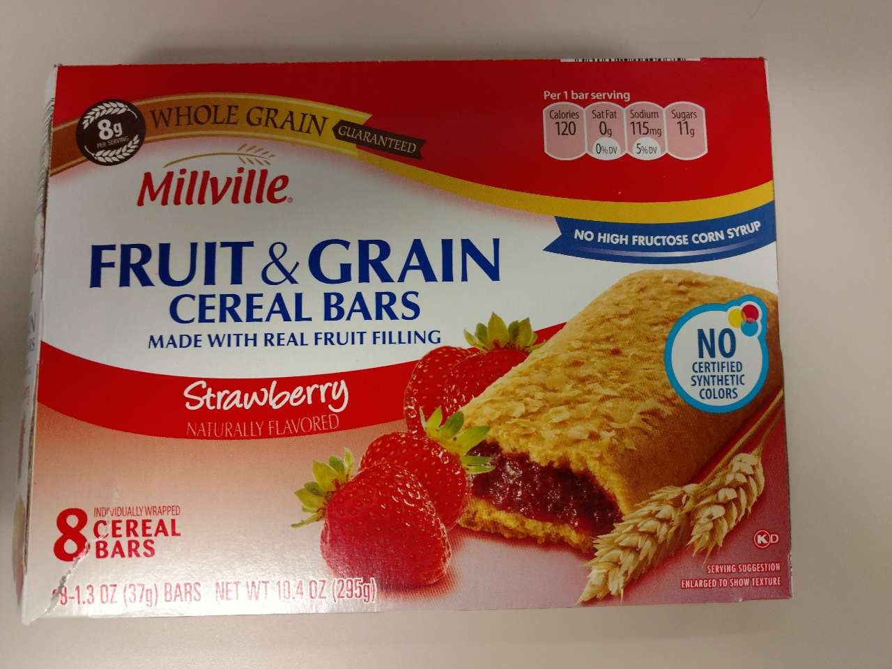 millville cereal bars  fruit  u0026 grain  strawberry  calories