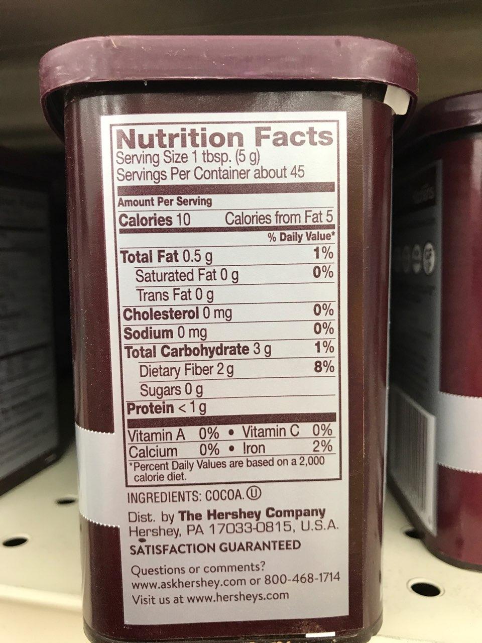100 cocoa powder nutrition