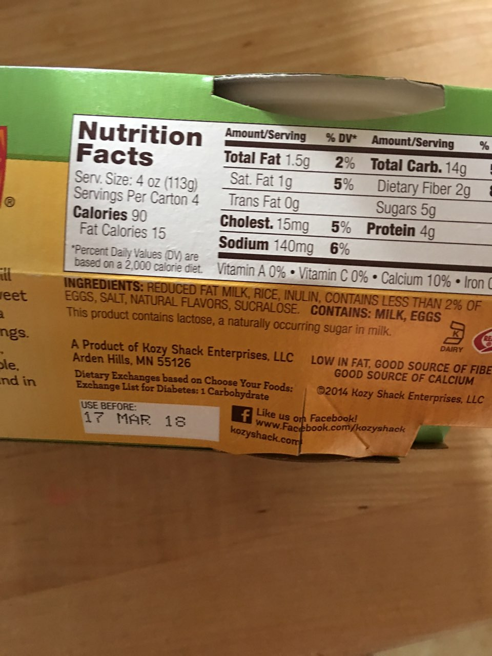 kozy shack pudding rice calories nutrition analysis  fooducate