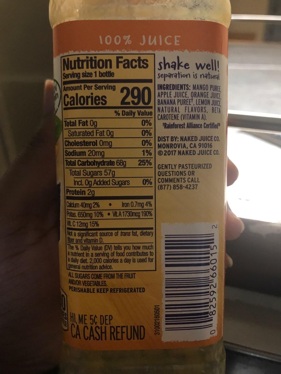 Naked 100 Juice Smoothie, Mighty Mango Calories -6583