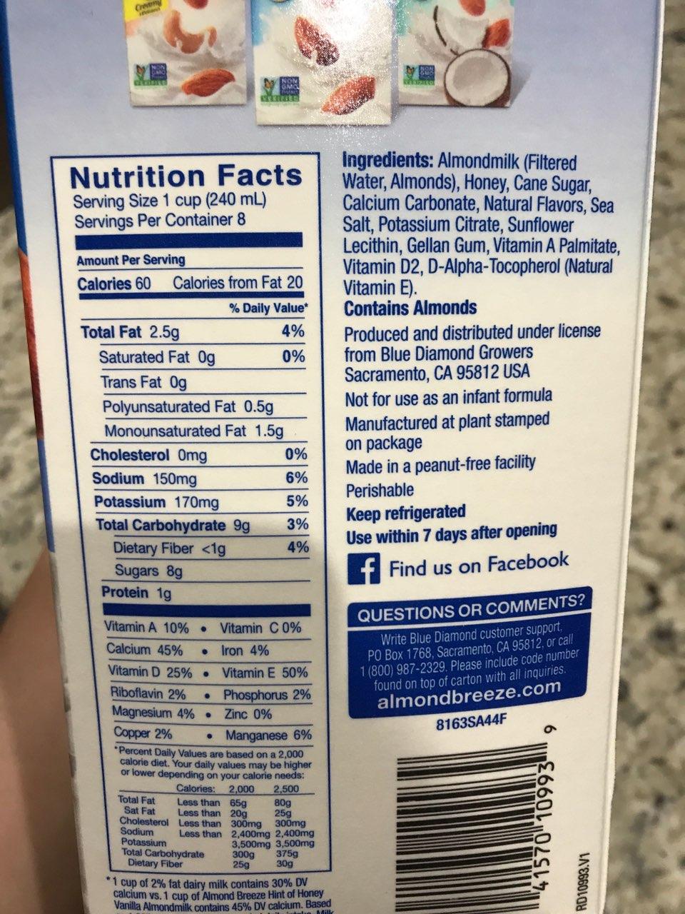 almond breeze almondmilk vanilla hint of honey calories