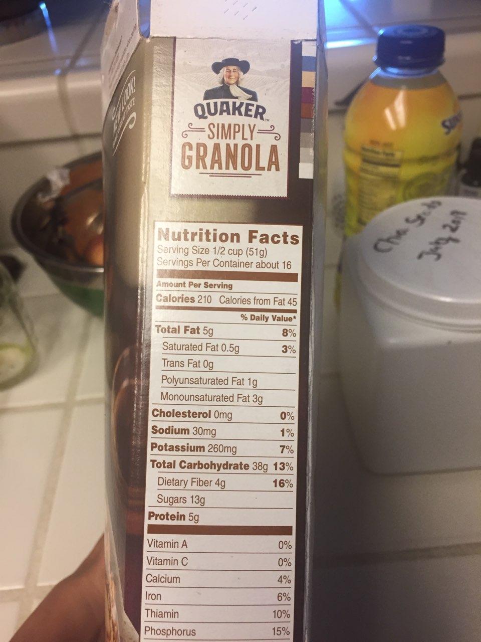 Quaker Simply Granola, Oats, Honey