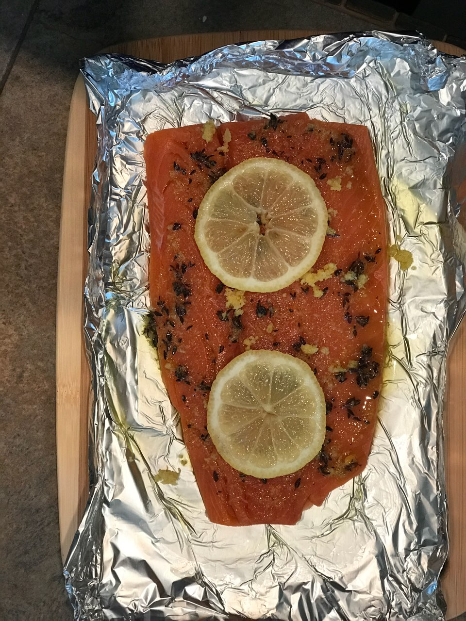 Ready to go in oven: Trader Joe\'s Wild coho salmon EVOO Fresh thyme ...