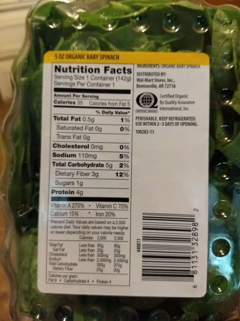 Marketside Organic Baby Spinach Calories Nutrition Analysis More Fooducate