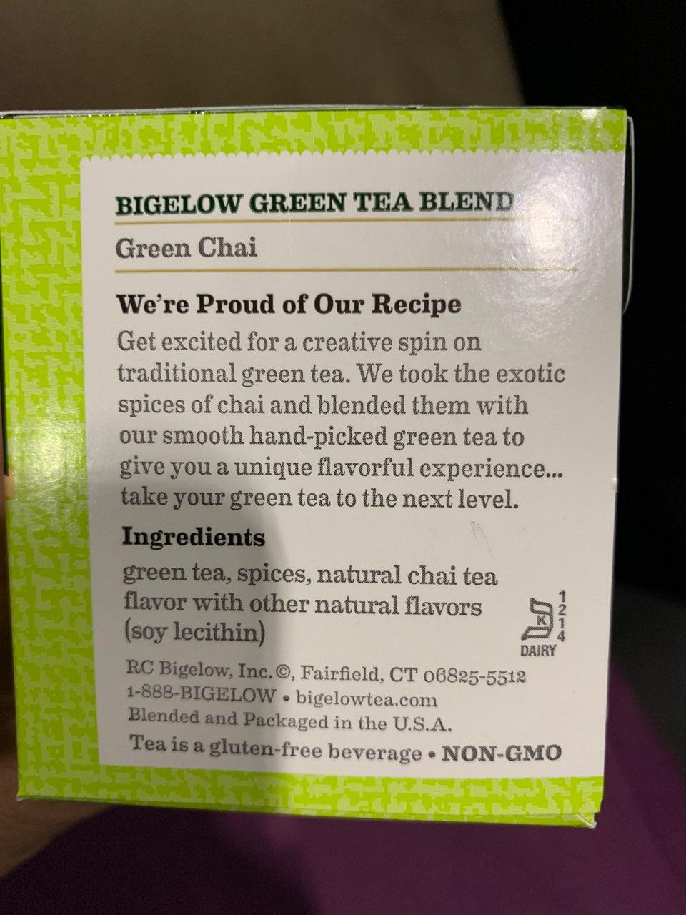 Bigelow Green Tea, Chai: Calories