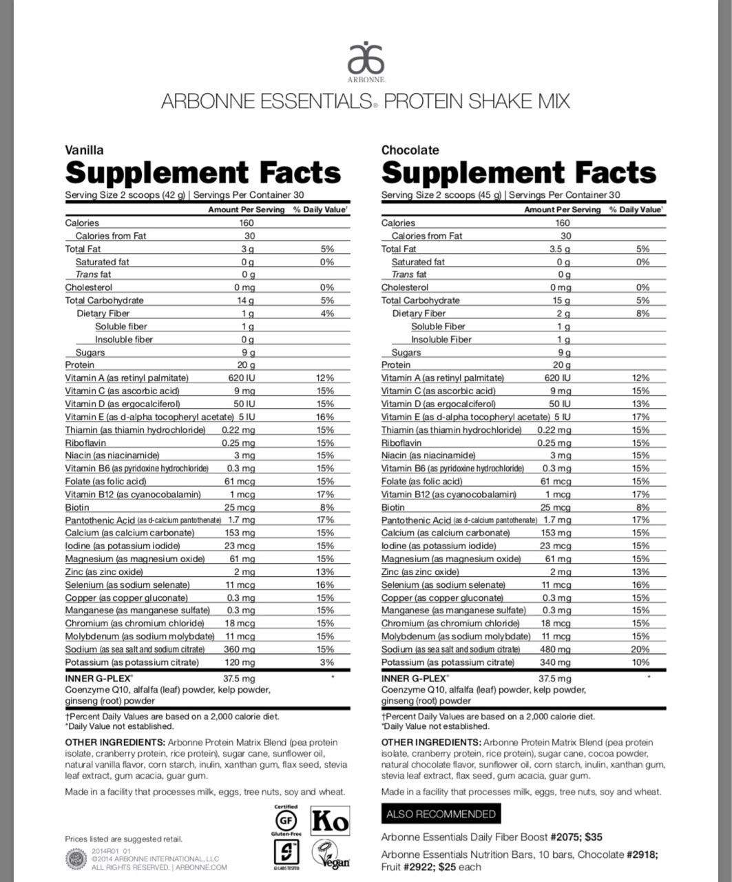Arbonne Essentials Vanilla Protein Shake Mix Calories