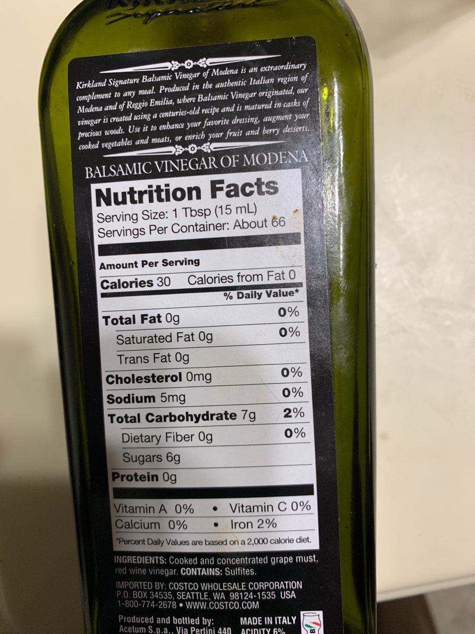 Kirkland Signature Balsamic Vinegar Of Modena Calories Nutrition Analysis More Fooducate
