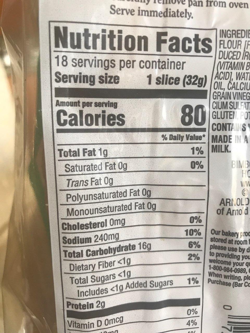 Arnold Italian Bread: Calories