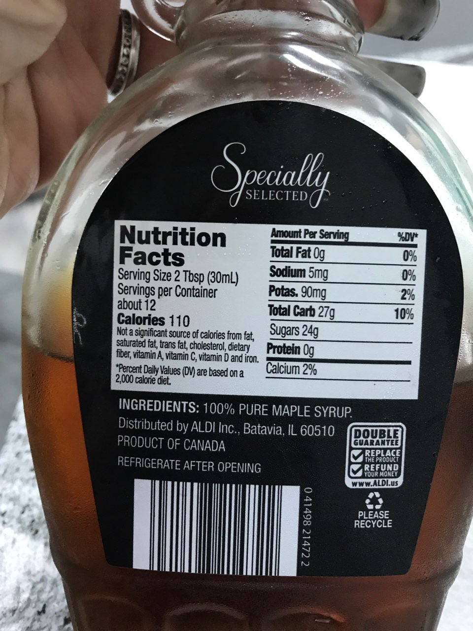 Specially Selected 100 Pure Maple Syrup Calories Nutrition Analysis More Fooducate