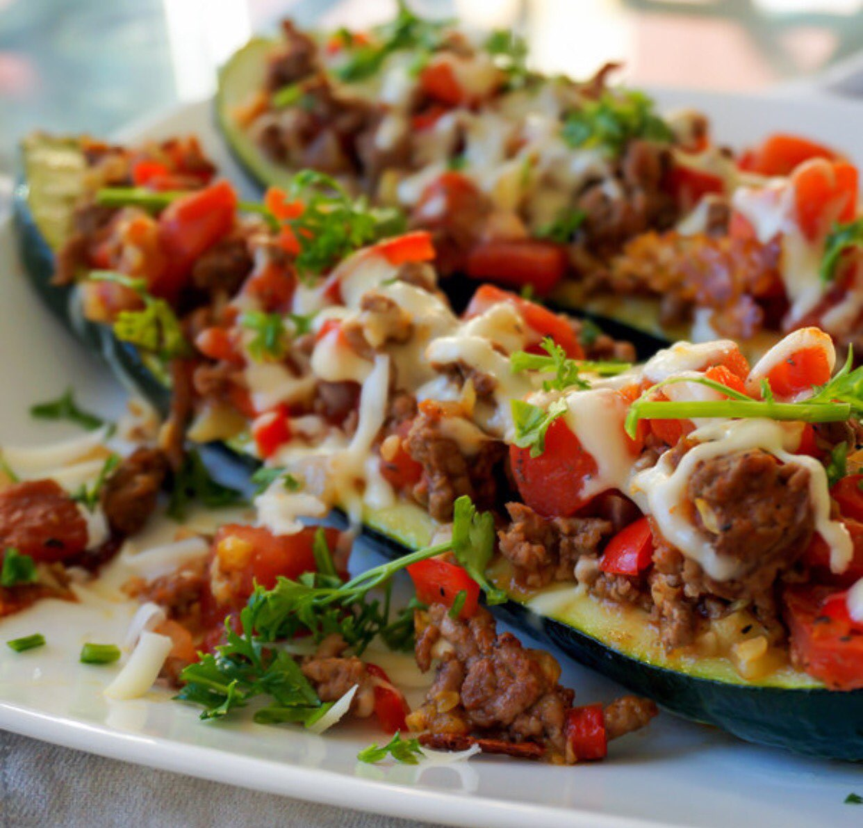 Italian Stuffed Zucchini Boats with Ground Beef, Tomatoes ...