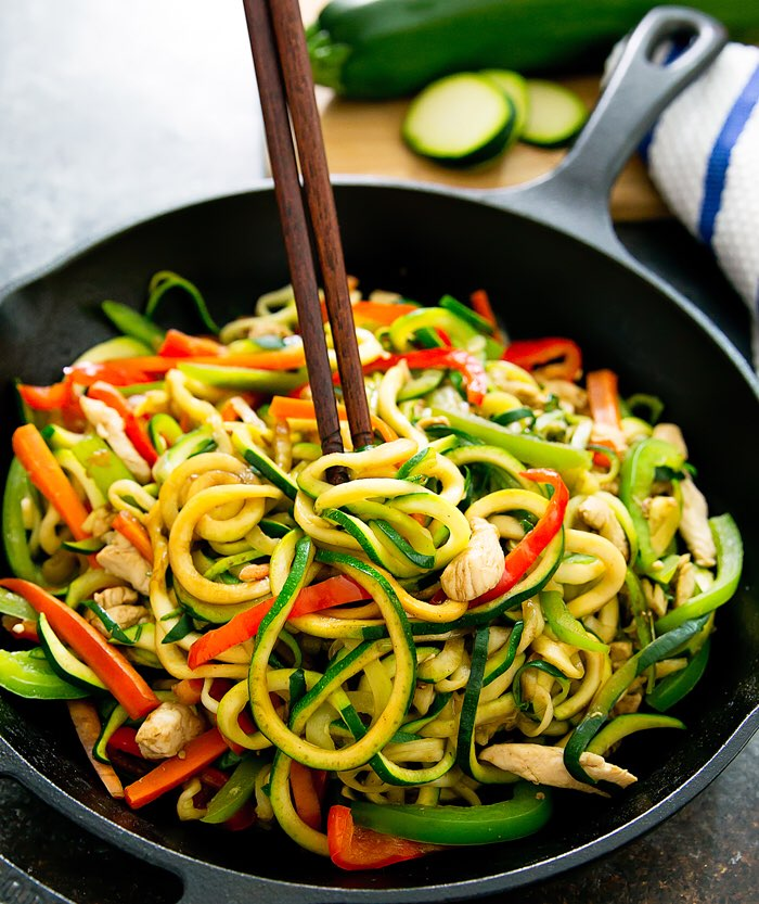 Zucchini Noodle Stir Fry Directions Calories Nutrition More Fooducate