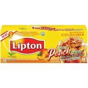 Lipton Tea Bags Iced Brew Hint Of Peach 18 Ct