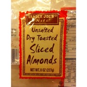 Unsalted Dry Toasted Sliced Almonds