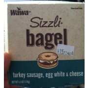 WaWa Sizzli Turkey Sausage, Egg White & Cheese Bagel: Calories ...