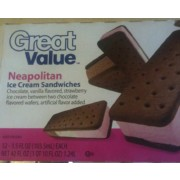 Great Value Neapolitan Ice cream Sandwiches: Calories, Nutrition Analysis &  More   Fooducate