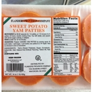 Flanders Provision Company Sweet Potato Yam Patties: Calories, Nutrition Analysis & More | Fooducate