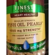 Finest nutrition heart health regular strength fish oil for Fish oil pearls