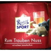 ritter sport rum trauben nuss calories nutrition. Black Bedroom Furniture Sets. Home Design Ideas