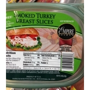 Empire Kosher Smoked Turkey Breast Slices Calories Nutrition Analysis More Fooducate