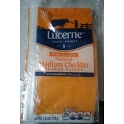 Lucerne Dairy Farms Thin Slices Natural Medium Cheddar Cheese Slices: Calories, Nutrition ...