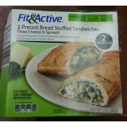 Fit Active 2 Pretzel Bread Stuffed Sandwiches Three Cheese Spinach