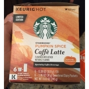 Starbucks K Cup Pack Pumpkin Spice Caffe Latte