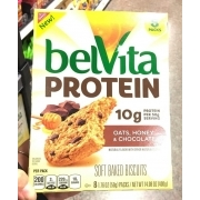Nabisco Belvita Protein, oats, Honey And Chocolate, Soft Baked Biscuits. nutrition grade C