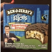 Ben And Jerry S Pint Slices American Dream 3 Vanilla Ice Cream Bars Calories Nutrition Analysis More Fooducate On this show the we crew will review misc ice cream products. vanilla ice cream bars